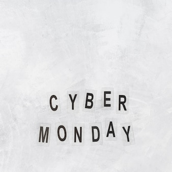 Cyber monday inscription on papers