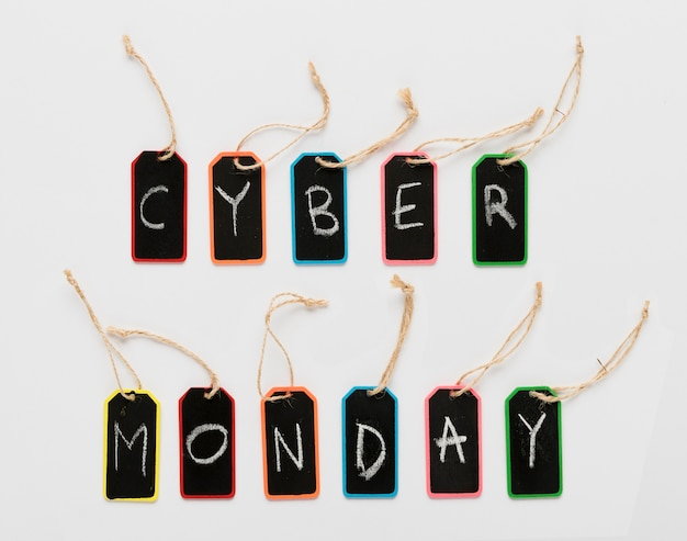 Cyber monday message on tags letters