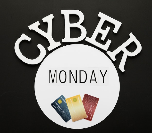 Cyber monday message with cards in circle