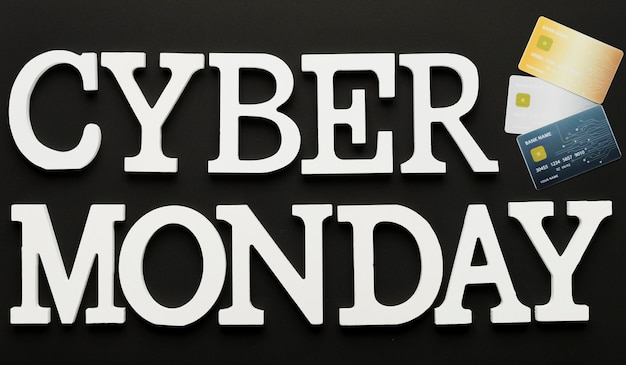 Cyber monday message with cards