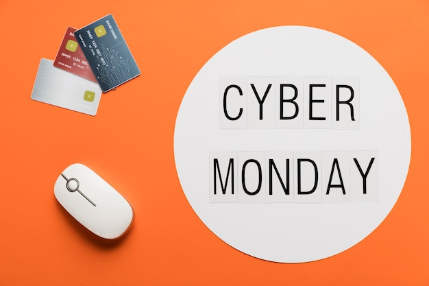 Cyber monday message with desk concept
