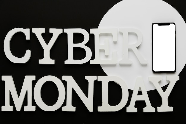 Cyber monday message with mobile