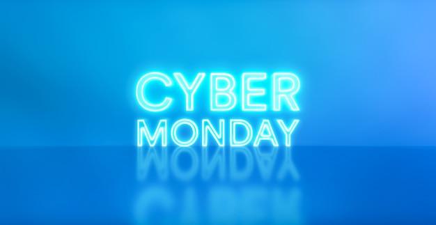 青いスタジオの背景にサイバーマンデーのネオンサイン。広告と宣伝のための輝く白と青のネオンテキスト。セールショッピングのコンセプト。アイコンネオンライトバナー。 3dレンダリング-イラスト。
