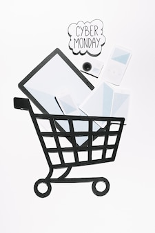 Cybermonday offer on cloud and devices with shopping cart