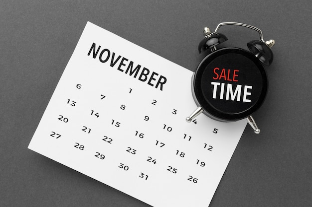 Cyber monday sale calendar and clock