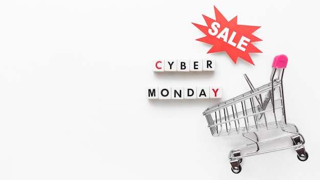 Cyber monday sale and shopping tray copy space