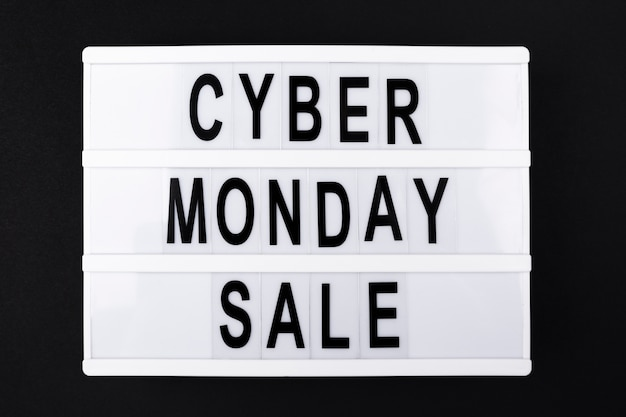 Cyber monday sale text on light box