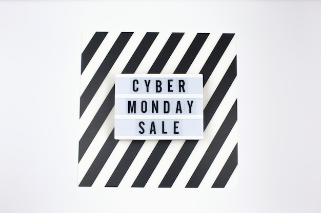 Cyber monday sale text on lightbox banner