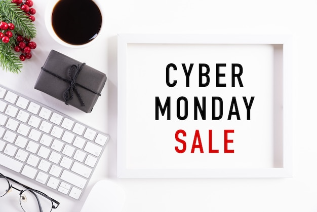 Cyber monday sale text on white picture frame decoration