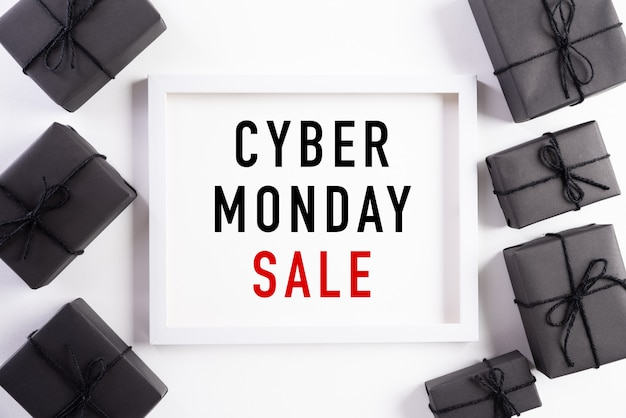 Cyber monday sale text on white