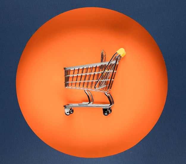 Cyber monday shopping cart orange circle