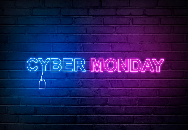 Cyber monday text from an electric lamp on the wall