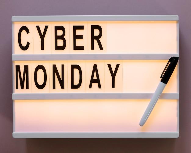 Cyber monday text on light box