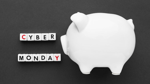Cyber monday and white piggy bank