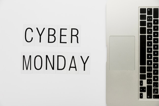 Cyber monday with keyboard on desk