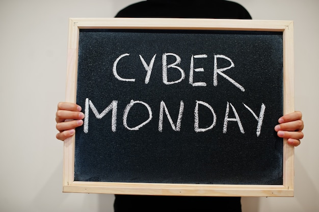 Cyber monday written on chalkboard