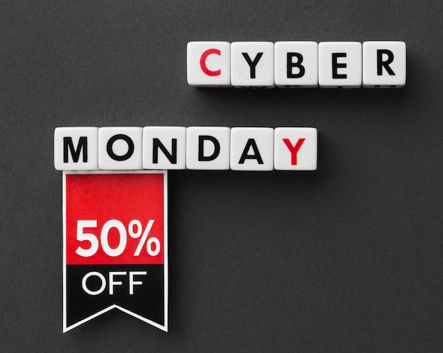 Cyber monday written with scrabble letters and label