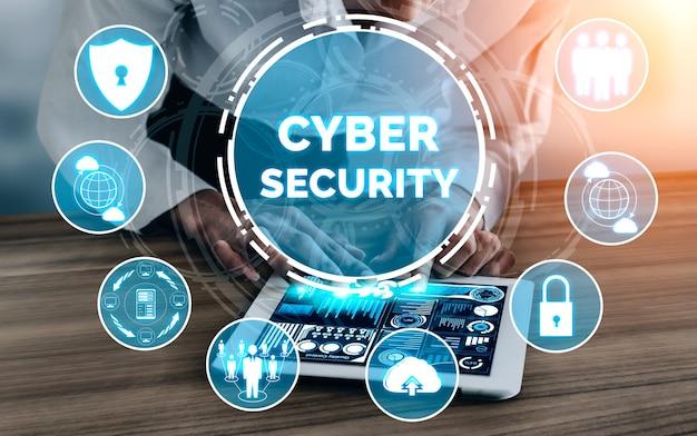 사이버 보안 및 디지털 데이터 보호 개념. 해커, 바이러스 및 개인 정보 보호를위한 안전하지 않은 정보에 대한 온라인 데이터 액세스 방어를위한 보안 방화벽 기술을 보여주는 아이콘 그래픽 인터페이스입니다.
