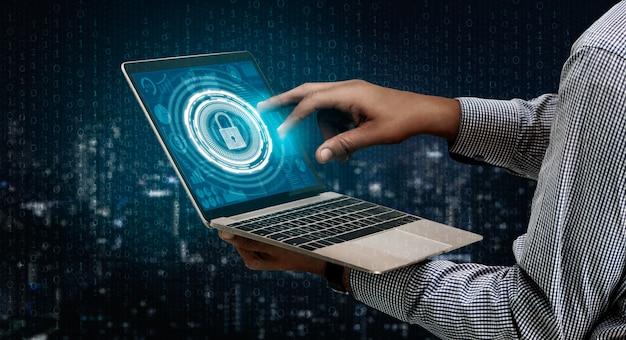 사이버 보안 및 디지털 데이터 보호 개념.
