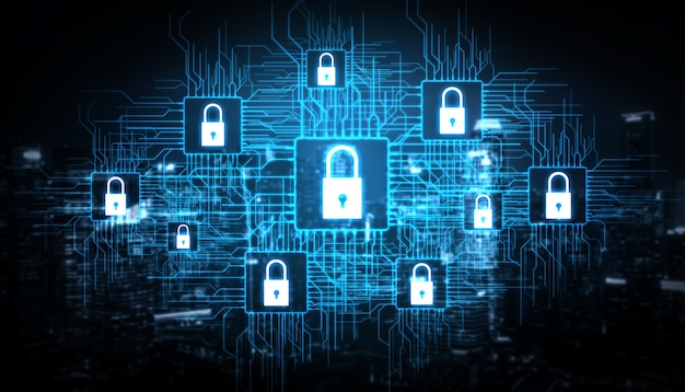 サイバーセキュリティとデジタルデータ保護の概念。
