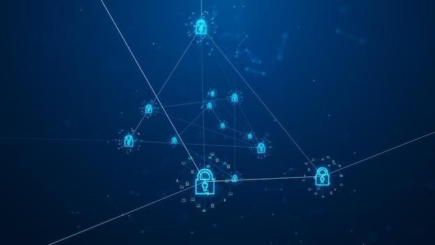 Концепция кибербезопасности. кибербезопасность защиты цифровых сетей передачи данных. иллюстрирует идею безопасности кибер-данных или конфиденциальности информации. информационные технологии интернета вещей (iot).