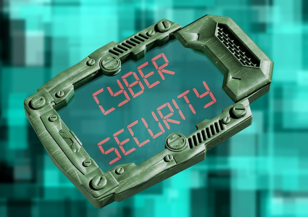 Cyber security concept. futuristic sci-fi communicator with transparent screen