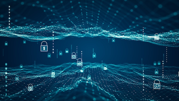 Cyber security concept. padlock icon on digital network data background. abstract of wireless internet technologies. database protection and secure transmission of information on big data networks.