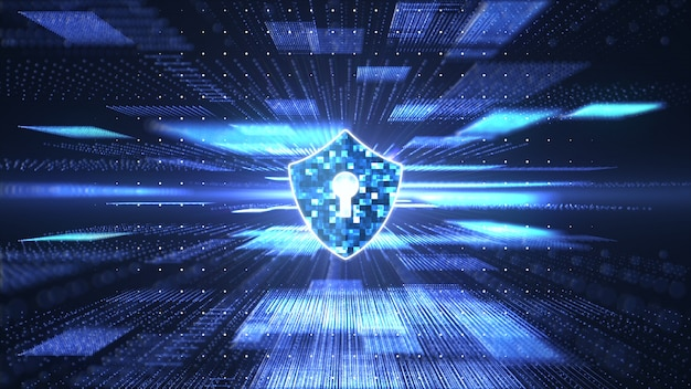 Cyber security concept. shield with keyhole icon on abstract block chain big data digital