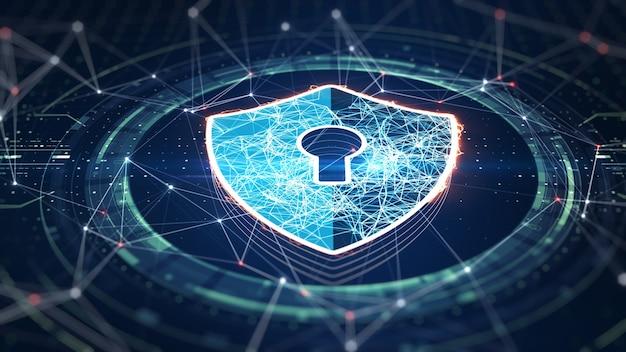 Концепция кибербезопасности. щит с иконой замочной скважины на фоне цифровых данных. иллюстрирует идею безопасности кибер-данных или конфиденциальности информации. голубая абстрактная высокоскоростная интернет-технология. 3d-рендеринг.