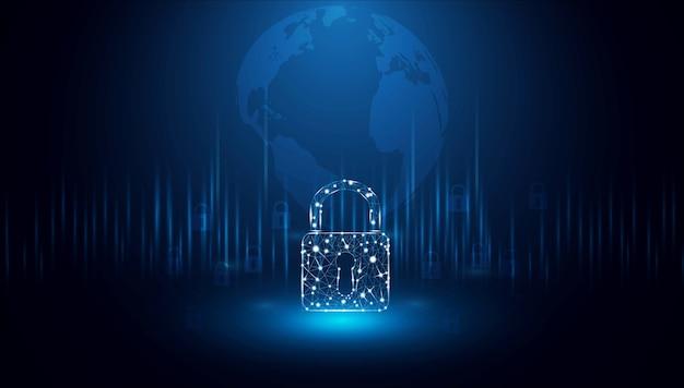 サイバーセキュリティの概念デジタルデータの背景に鍵穴アイコンでシールド