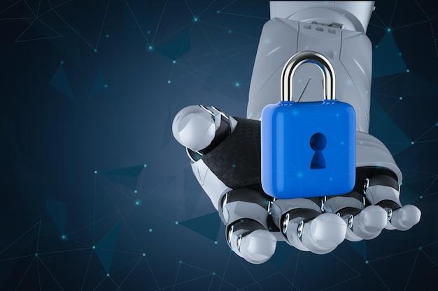 3d 렌더링 로봇 손 잡고 자물쇠와 사이버 보안 개념