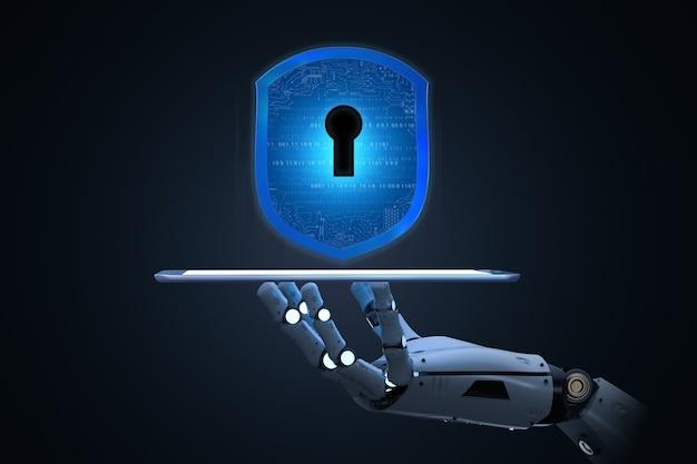 로봇으로 3d 렌더링 쉴드 보호가 포함된 사이버 보안 개념