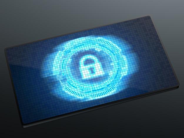 디지털 화면 디스플레이 자물쇠가 있는 사이버 보안 개념