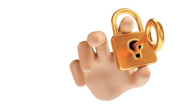 Концепция конфиденциальности бизнес-технологии защиты данных кибербезопасности. 3d иллюстрация