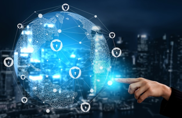 Cyber security and digital data protection concept. secured firewall technology for online data.