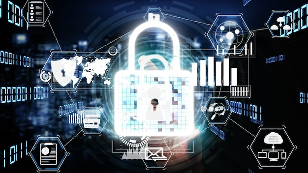 Cyber security encryption technology to protect data privacy conceptual