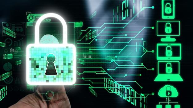 Технология шифрования кибербезопасности для концептуальной защиты конфиденциальности данных.