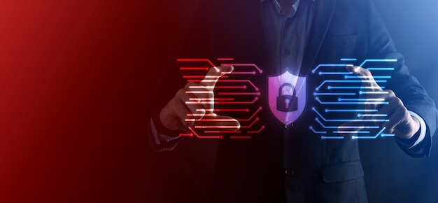 サイバーセキュリティネットワーク。南京錠のアイコンとインターネット技術ネットワーク。タブレットと仮想インターフェイス上のデータ個人情報を保護するビジネスマン。データ保護プライバシーの概念。 gdpr。 eu。