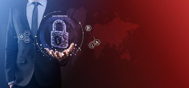 사이버 보안 네트워크. 자물쇠 아이콘과 인터넷 기술 네트워킹. 태블릿 및 가상 인터페이스에서 데이터 개인 정보를 보호하는 사업. 데이터 보호 개인 정보 보호 개념. gdpr. 유럽 연합.