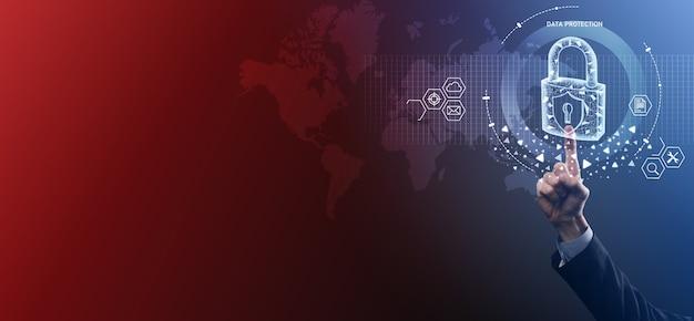 Сеть кибербезопасности. значок замка и сети интернет-технологий. бизнесмен защиты данных личной информации на планшете и виртуальном интерфейсе. концепция конфиденциальности защиты данных. gdpr. евросоюз. Premium Фотографии