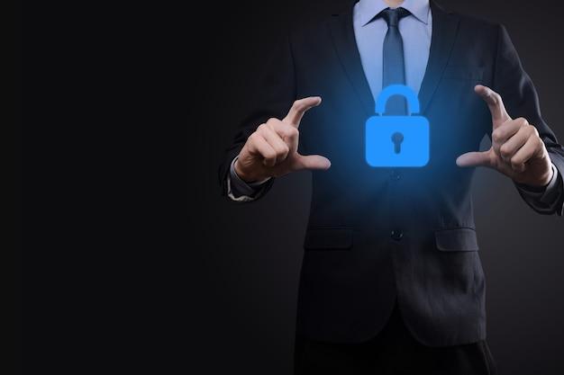 사이버 보안 네트워크. 자물쇠 아이콘과 인터넷 기술 네트워킹. 가상 인터페이스에서 데이터 개인 정보를 보호하는 사업. 데이터 보호 개인 정보 보호 개념. gdpr. 유럽 연합.