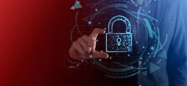 Сеть кибербезопасности. значок замка и сети интернет-технологий. бизнесмен, защищающий данные личной информации, виртуальный интерфейс. концепция конфиденциальности защиты данных. gdpr. ес. цифровая преступность