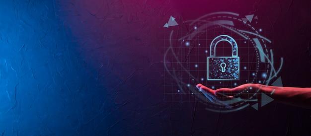 사이버 보안 네트워크입니다. 자물쇠 아이콘 및 인터넷 기술 네트워킹입니다. 데이터 개인 정보, 가상 인터페이스를 보호하는 사업가입니다. 데이터 보호 개인 정보 보호 개념입니다. gdpr. eu.디지털 범죄