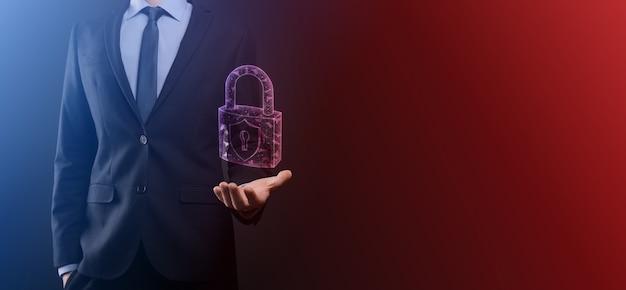 サイバーセキュリティネットワーク南京錠アイコンとインターネット技術ネットワーキング