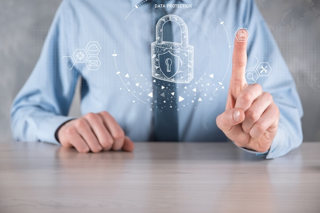 사이버 보안 네트워크. 자물쇠 아이콘과 인터넷 기술 네트워킹.