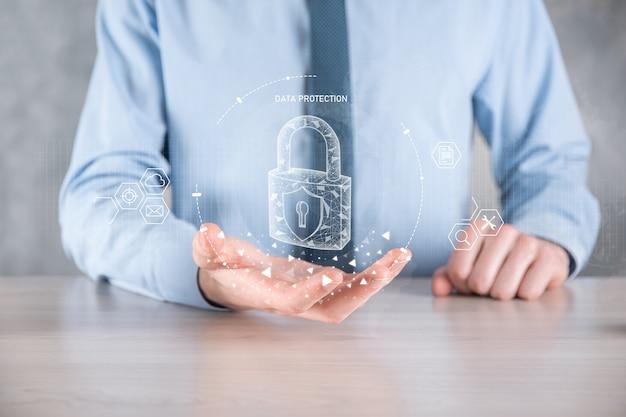 サイバーセキュリティネットワーク。南京錠のアイコンとインターネット技術ネットワーク。