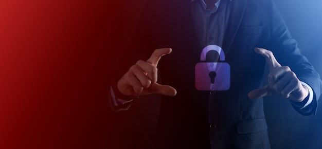 사이버 보안 네트워크. 자물쇠 아이콘 및 인터넷 기술 네트워킹