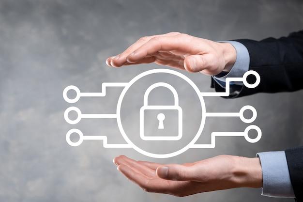 Сеть кибербезопасности. значок замка и сети интернет-технологий.