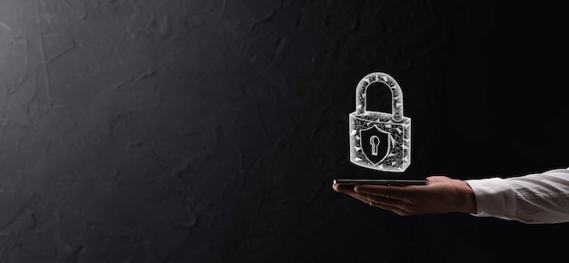 Cyber security network. padlock icon and internet technology networking. businessman protecting data personal information on tablet and virtual interface. data protection privacy concept. gdpr. eu.