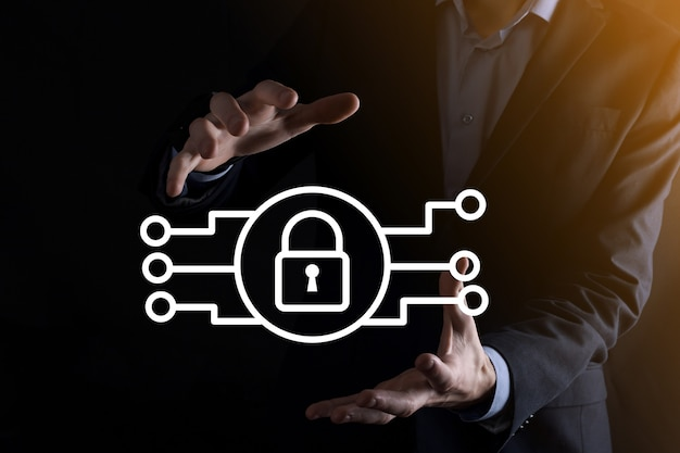 Cyber security network. padlock icon and internet technology networking. businessman protecting data personal information on tablet and virtual interface. data protection privacy concept. gdpr. eu